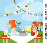 picnic party celebration scene. ...   Shutterstock .eps vector #1085254736