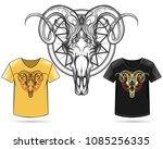 hand drawn ram skull print... | Shutterstock .eps vector #1085256335