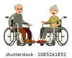 elderly couple in wheelchair on ... | Shutterstock .eps vector #1085261852