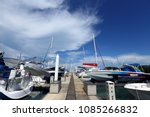 many luxury yachts float on...   Shutterstock . vector #1085266832