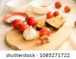 rye bread  radish  tomatoes ... | Shutterstock . vector #1085271722