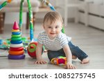 cute little child playing... | Shutterstock . vector #1085275745