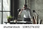 attractive business man working ... | Shutterstock . vector #1085276102