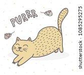 cute purring cat print. funny...   Shutterstock .eps vector #1085295275