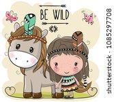 cute cartoon tribal girl and... | Shutterstock .eps vector #1085297708