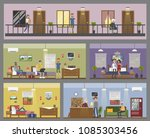 motel city building interior... | Shutterstock .eps vector #1085303456