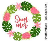 jungle wreath with monstera ... | Shutterstock .eps vector #1085306225