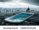 man fishing in the smartphone... | Shutterstock . vector #1085310146