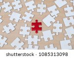 close up of puzzle pieces on... | Shutterstock . vector #1085313098
