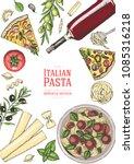 italian cuisine top view...   Shutterstock .eps vector #1085316218