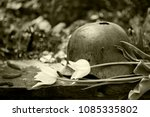 Old, holey, rusty German military helmet of the Second World War with white tulips on the stone, toning