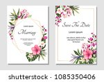 set of card with exotic leaves. ... | Shutterstock .eps vector #1085350406