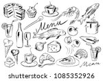hand drawn menu doodles | Shutterstock .eps vector #1085352926