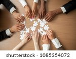 hands of diverse people... | Shutterstock . vector #1085354072