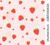 seamless vector strawberry... | Shutterstock .eps vector #1085360636