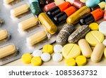 medicine pills or capsules on...   Shutterstock . vector #1085363732