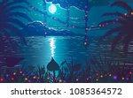 tropical ocean coast with...   Shutterstock .eps vector #1085364572