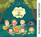 kids sitting around bonfire and ...   Shutterstock .eps vector #1085365166