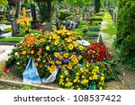 In A Cemetery  A Grave Is Fres...