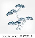pine japanese paint style...   Shutterstock .eps vector #1085375312
