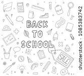 hand drawn set of school...   Shutterstock .eps vector #1085383742