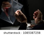 police  showing a knife with... | Shutterstock . vector #1085387258