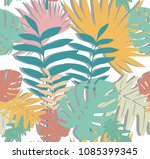 colorful leaves pattern with... | Shutterstock .eps vector #1085399345