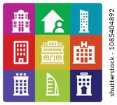 filled set of 9 building icons... | Shutterstock .eps vector #1085404892