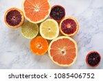 overhead photo of citrus fruit... | Shutterstock . vector #1085406752