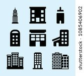 filled set of 9 apartment icons ... | Shutterstock .eps vector #1085406902