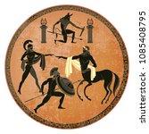ancient greece scene. black... | Shutterstock .eps vector #1085408795