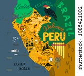 illustrated map of peru. ... | Shutterstock .eps vector #1085421002