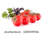 Cherry tomato and basil leaves still life isolated on white background cutout - stock photo