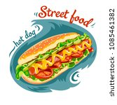appetizing hot dog   sausage in ... | Shutterstock .eps vector #1085461382