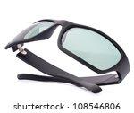Stylish black sunglasses isolated on white background cutout - stock photo