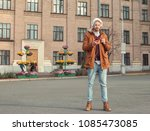 handsome hipster with... | Shutterstock . vector #1085473085