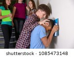 teenager bullying african... | Shutterstock . vector #1085473148