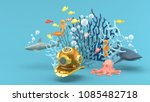 masked diving under the blue... | Shutterstock . vector #1085482718