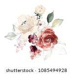 watercolor flowers. floral... | Shutterstock . vector #1085494928