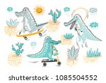 cute crocodile vector set.... | Shutterstock .eps vector #1085504552