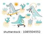 cute crocodile vector set.... | Shutterstock .eps vector #1085504552