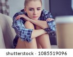 unhappy lonely depressed...   Shutterstock . vector #1085519096