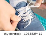 close up view of the shoelaces... | Shutterstock . vector #1085539412