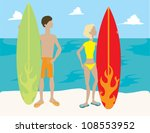 people with surfboards | Shutterstock .eps vector #108553952