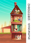 vector three story house... | Shutterstock .eps vector #1085550842