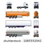 vector realistic semitruck mock ...   Shutterstock .eps vector #1085552042