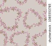 romantic floral heart wreath...   Shutterstock . vector #1085553785