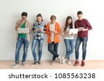 group of teenagers with modern...   Shutterstock . vector #1085563238