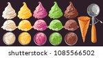 vector set of watercolor... | Shutterstock .eps vector #1085566502
