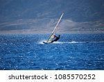 windsurfer riding red sea in...   Shutterstock . vector #1085570252
